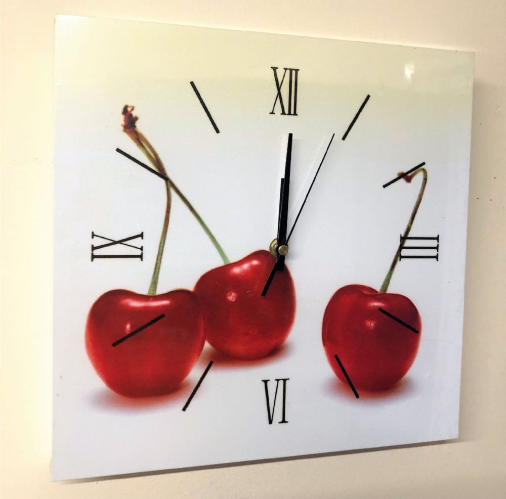 Square Kitchen Dining  Room Wall Clock  - Cherries